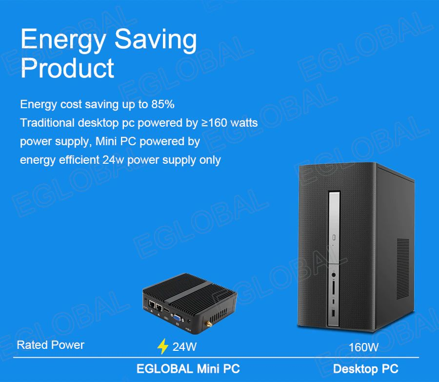 Produkt energooszczędny   Oszczędność kosztów energii do 85% w porównaniu do tradycyjnego komputera stacjonarnego zasilanego zasilaczem >160W, Mini PC zasilany tylko energooszczędnym zasilaczem 24W   Moc znamionowa 24W EGLOBAL Mini PC kontra komputer stacjonarny 160 W