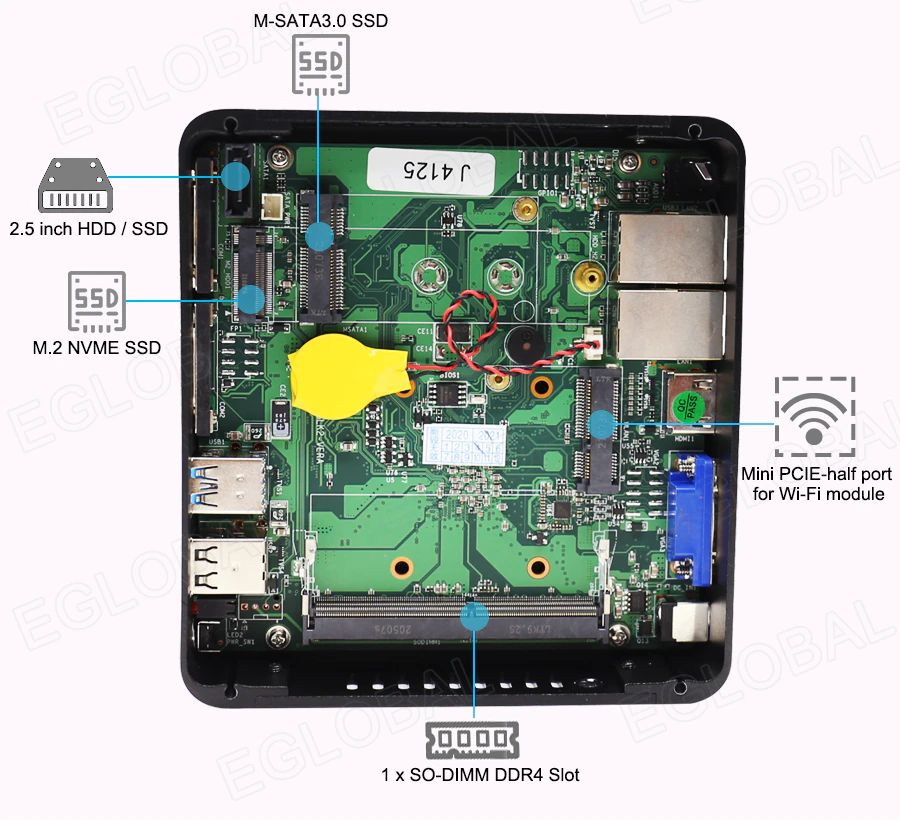 M-SATA 3.0 SSD, 1 x SO-DIMM DDR4 Slot, Mini PCIE-half port for Wi-Fi module, 2.5 inch HDD / SSD, M.2 NVME SSD