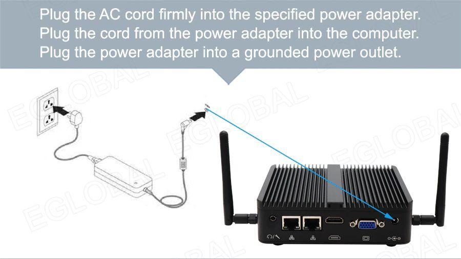 Łatwy start - Podłącz przewód zasilający do zasilacza. Podłącz przewód z zasilacza do komputera. Podłącz zasilacz do uziemionego gniazdka elektrycznego.