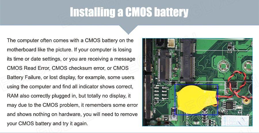 Zainstalowana bateria CMOS — komputer jest wyposażony w baterię CMOS na płycie głównej, tak jak na zdjęciu. Jeśli komputer nie ma baterii CMOS, to traci ustawienia godziny lub daty lub na przykład pojawia się komunikat Błąd odczytu CMOS, błąd sumy kontrolnej CMOS lub Awaria baterii CMOS lub utracony wyświetlacz. Również niektórzy użytkownicy korzystający z komputera stwierdzą, że wszystkie wskaźniki są prawidłowe, pamięć RAM również prawidłowo zainstalowana, ale całkowicie nie wyświetla żadnego sygnalu, może to być spowodowane problemem z CMOS, pamięta jakiś błąd i nic nie pokazuje na sprzęcie, musisz wyjąć baterię CMOS i spróbować ponownie.