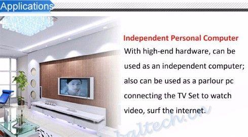 Zastosowania: Niezależny komputer personalny - z wysokiej klasy sprzętem może być używany jako niezależny komputer; może być również używany jako komputer do salonu, łączący telewizor w celu oglądania wideo, surfowania po Internecie.
