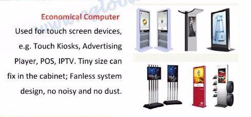 Komputer ekonomiczny - Używany do urządzeń z ekranem dotykowym, np. Kioski dotykowe, Odtwarzacz reklam, POS, IPTV. Mały rozmiar można umieścić w szafce; Konstrukcja systemu bez wentylatora, bez hałasu i bez kurzu.