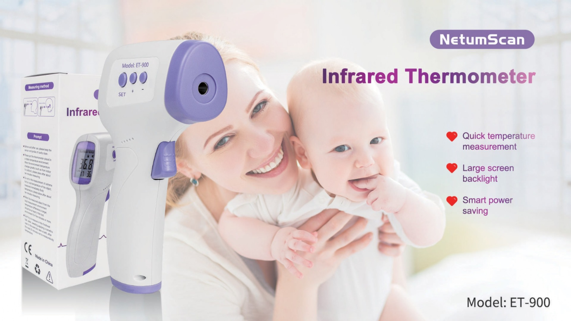 Woman and child with Infrared Forehead Thermometer NetumScan ET-900