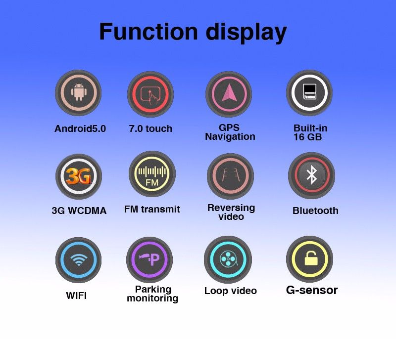 Function display Android5.0 7.0 touch GPS Built-in 16GB Navigation 3G WCDMA FM transmit Reversing video Bluetooth WIFI Parking monitoring Loop video G-sensor