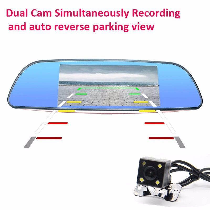Dual Cam Simultaneously Recording and auto reverse parking view