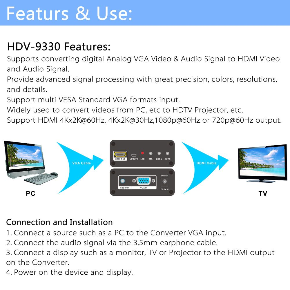 Features & Use: HDV-9330 Features: Supports converting digital Analog VGA Video & Audio Signal to HDMI Video and Audio Signal. Provide advanced signal processing with great precision, colors, resolutions, and details. Support multi-VESA Standard VGA formats input. Widely used to convert videos from PC, etc to HDTV Projector, etc. Support HDMI 4Kx2K@60Hz, 4Kx2K@30Hz,1080p@60Hz or 720p@60Hz output. Connection and Installation 1.	Connect a source such as a PC to the Converter VGA input. 2.	Connect the audio signal via the 3.5mm earphone cable. 3.	Connect a display such as a monitor, TV or Projector to the HDMI output on the Converter. 4.	Power on the device and display.