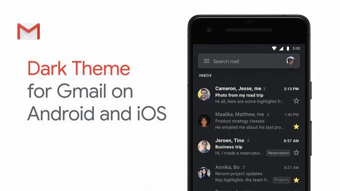Gmail w końcu z ciemnym motywem na Androidzie 10 i iOS